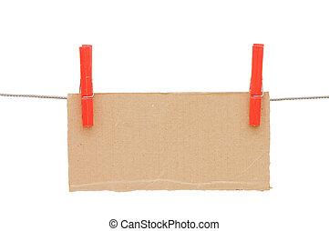 den, papp, kompress, hänga, på, a, binda med rep