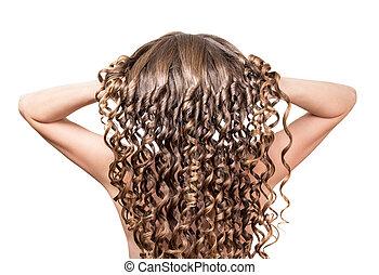 den, pige, raises, hende, længe, curly hår, closeup, på hvide