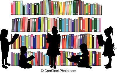 den, piger, vær, læsning, en, book.