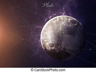 den, pluto, med, månar, från, utrymme, visande, alla, de,...