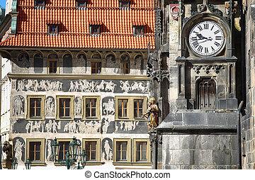 den, prag, gammalt rådhus, och, astronomisk klocka, orloj, hos, gammal by fyrkantiga, in, prag, tjeckisk republik