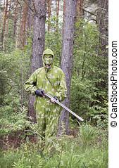 den, skjutvapen, in, kamouflage