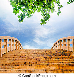 den, sky, och, den, trä bro