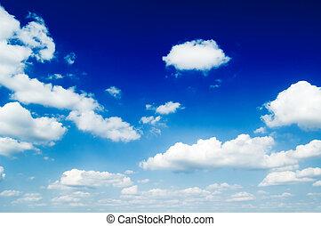 den, skyn, på, blå, sky.