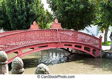 den, smukke, rød, bridge.