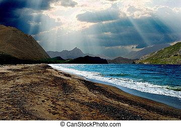 den, sol, genom, skyn