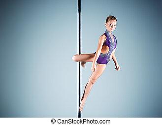 den, stark, och, behagfull, ung flicka, utföre, akrobatisk,...