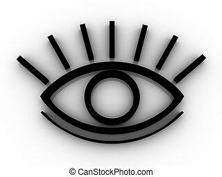 den, stylized, ögon
