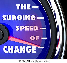 den, surging, hastighet, av, ändring, hastighetsmätare, återstående tid spåret, utveckling