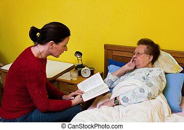den, syg, gammel kvinde, er, visited
