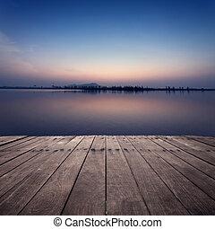 den, synhåll, av, insjö, med, solnedgång