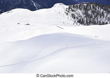 den, toppar, av, alperna, in, vinter, med, mjuk, snö