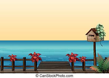den, trä bro