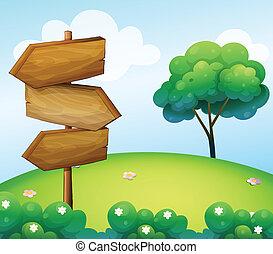 den, trä, pil, signage, hos, den, kulle