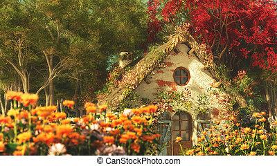 den, trädgård, stuga, 3, datordiagram