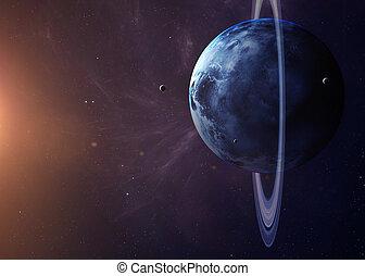 den, uranus, med, månar, från, utrymme, visande, alla, de,...