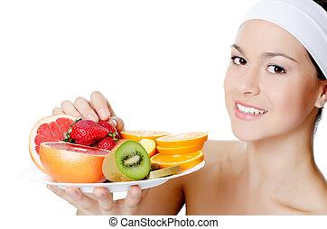 den, vacker kvinna, med, frukt
