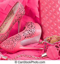 den, vacker, rosa, sko