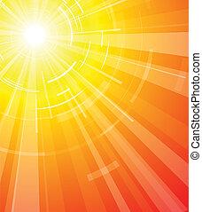 den, varm, sommar, sol