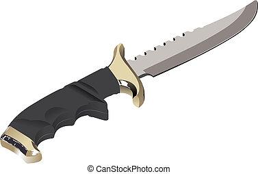 den, vektor, avbild, av, a, kniv, på, a, vit fond