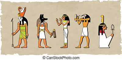 den, vektor, sæt, i, ægyptisk gud