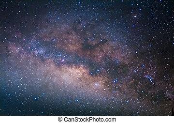 den, vintergatan, galaxy's, centrera, lång exponering,...