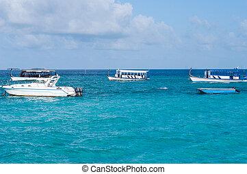 den, yachter, på, a, blå, hav
