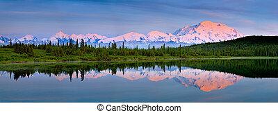 Mount McKinley reflectin in Wonder Lake at Denali national Park Alaska