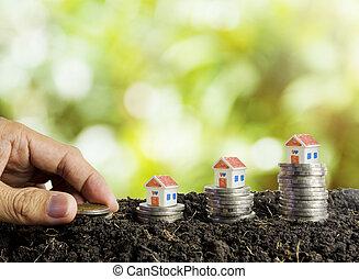 denaro risparmio, costruire, uno, casa, concetto, casa, e, monete, in, suolo