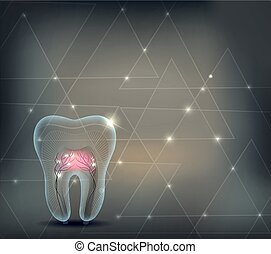 Dental background with triangles and transparent tooth with roots