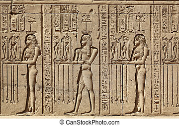 dendera, egypte, soulagement, temple