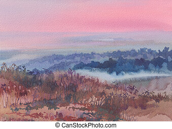 dene in the morning watercolor landscape