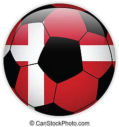 denemarken vlag, bal, achtergrond, voetbal