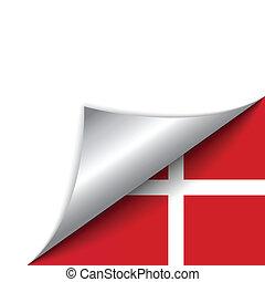 denemarken vlag, draaiende pagina, land