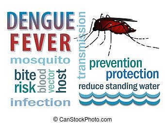 dengue, febbre, parola, nuvola