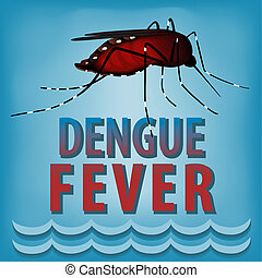 Dengue fever mosquito, infectious virus disease, standing water, isolated on blue background graphic illustration. EPS8 includes gradient mesh.