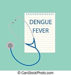 Dengue fever written in notebook- vector illustration