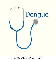 dengue word and stethoscope icon- vector illustration