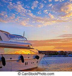 denia, 地中海, 小游艇船坞, 日落, 船, 西班牙