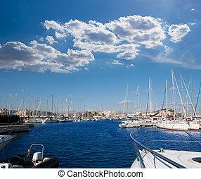Denia Alicante marina boats in blue Mediterranean