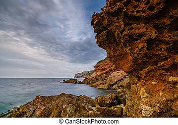 denia., distretto, città, pietre, tramonto, valencia, spain., spiaggia