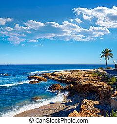Denia Las Rotas Rotes beach in Alicante Mediterranean sea of...
