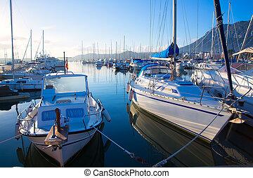 Denia marina boats in alicante Valencia Province Spain -...