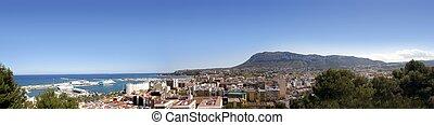 denia, montgo, パノラマである, 村, マリーナ, 港