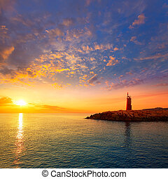 Denia sunset lighthouse at dusk in Alicante at spain