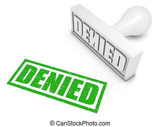 """""""DENIED"""" rubber stamp. Part of a rubber stamp series."""