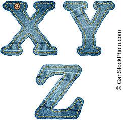 Denim alphabet. Jeans letters X Y Z
