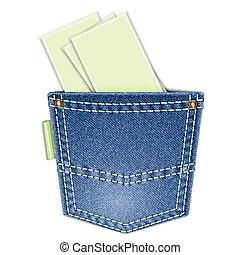 back pocket - Denim back pocket with space for text, ...
