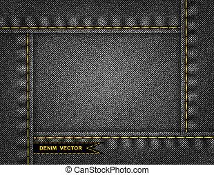 Denim background - Illustration of abstract frame from black...