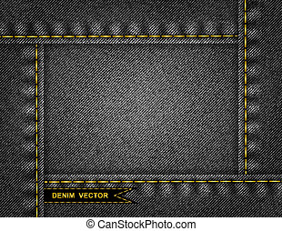 Illustration of abstract frame from black denim texture with stitches and ribbon